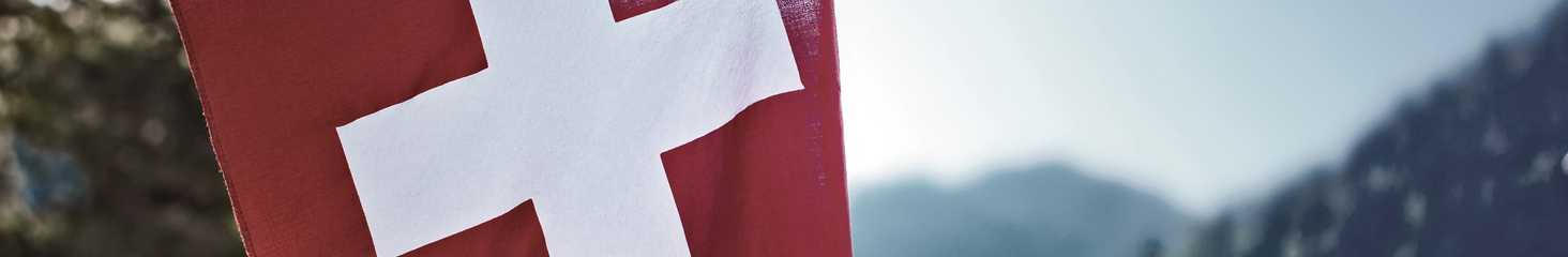 The flag of Switzerland.